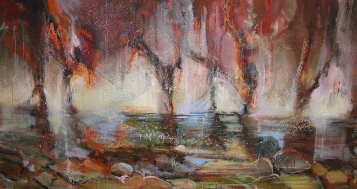 page 17. water and rock, 72x36, oil on canvas